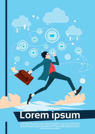 Running Business Man Manager Hurry Flat Vector Illustration