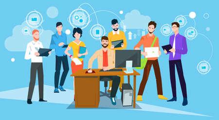 Business People Team Boss Manager Sit Working Desktop Flat Vector Illustration  イラスト・ベクター素材