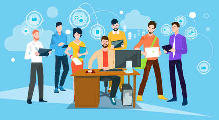 Business People Team Boss Manager Sit Working Desktop Flat Vector Illustration 일러스트