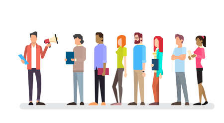 casual business team: Casual Businessman Hold Megaphone Loudspeaker Colleagues Business People Team Leader Group Flat Vector Illustration