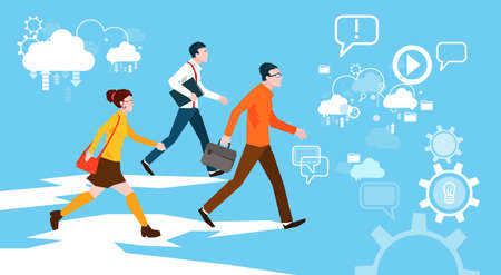 Casual People Group Walking Business Abstract Background Flat Vector Illustration