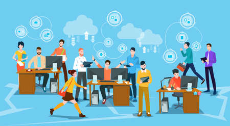 Business People Crowd Workplace Office Flat Vector Illustration