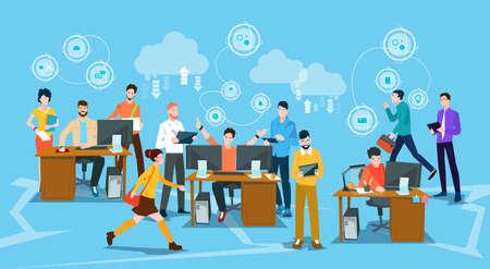 Mensen uit het bedrijfsleven menigte werkplek platte kantoor vectorillustratie Stock Illustratie