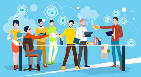 Bedrijfsmensen Team Brainstorm Discussing Office Meeting Flat Vector Illustration Vector Illustratie