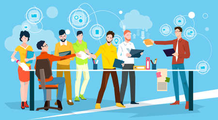 Business People Team Brainstorm Discussing Office Meeting Flat Vector Illustration Illustration