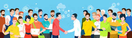 Business People Team Managers Shake Hand Banner Flat Vector Illustration