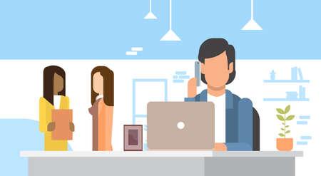 using laptop: Business Man Using Laptop Speak Cell Smart Phone Office Flat Vector Illustration Illustration