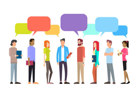 Casual People Group Chat Bubble Communication Social Network Flat Design Vector Illustration 일러스트