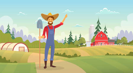 Farmer Standing Show Farm, Farmland Countryside Landscape Flat Vector Illustration