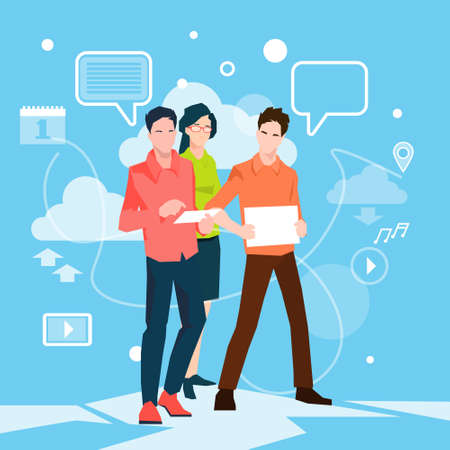 Business People Group Working Teamwork Flat Vector Illustration