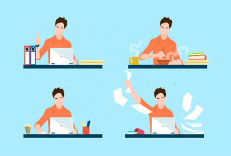 casual business man: Casual Business Man Freelancer Working Day Routine Set Flat Vector Illustration Illustration