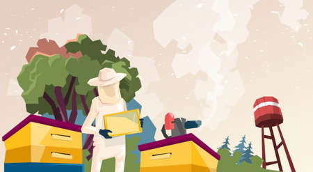 pollination: Farmer Gather Honey From Bee Hive Apiary Flat Vector Illustration