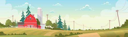 labranza: Agricultura y ganadería, Tierras de cultivo Campo paisaje ilustración vectorial Flat Vectores