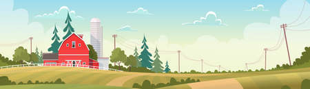 grain storage: Agriculture And Farming, Farmland Countryside Landscape Flat Vector Illustration