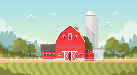 labranza: Agriculture And Farming, Farmland Countryside Landscape Flat Vector Illustration