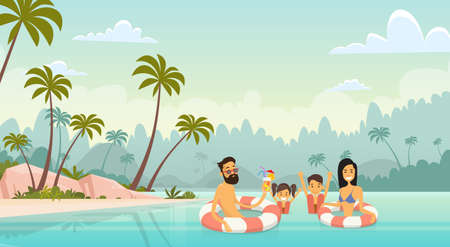 Big Family Swimming Holiday Sea Seaside Summer Vacation Parents With Two Children Vector Illustration