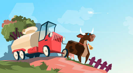 breeding: Milk Tanker Transportation Cow Breeding Farm Flat Vector Illustration Illustration