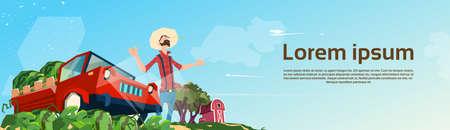 countryman: Farmer Picking In Field Watermelon Harvest Flat Vector Illustration