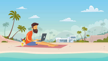 using laptop: Man Freelance Remote Working Place Using Laptop Beach Summer Vacation Tropical Island Flat Vector Illustration