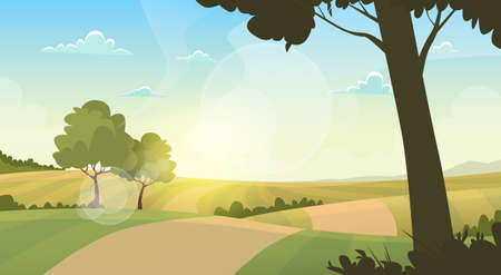 valley view: Summer View Landscape Rural Road Green Grass Blue Sky Sunset Flat Vector Illustration