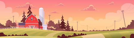 Agriculture And Farming, Farmland Countryside Sunset Landscape Flat Vector Illustration Illustration