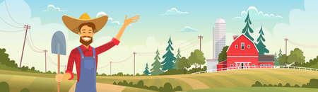 farmland: Farmer Standing Show Farm, Farmland Countryside Landscape Flat Vector Illustration Illustration