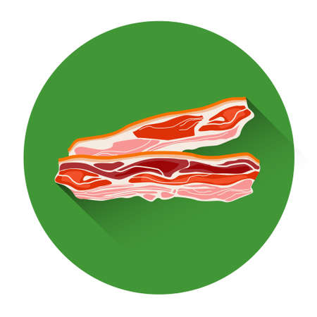 bacon strips: Bacon Meat Food Icon Flat Vector Illustration