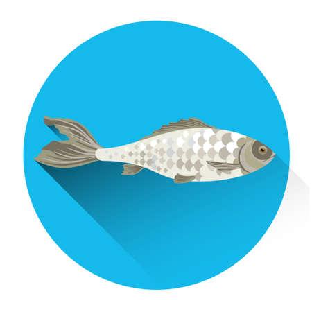 dorado: Fish Fresh Food Icon Flat Vector Illustration Illustration