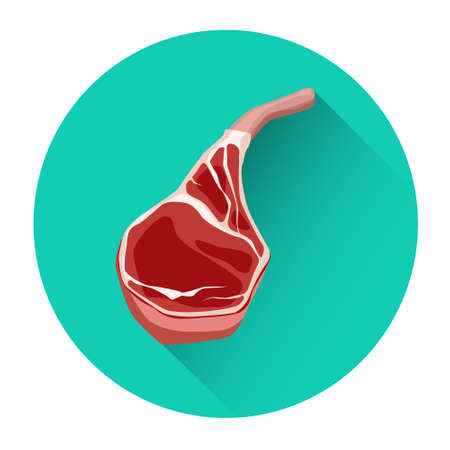 Beef Steak Meat Food Icon Flat Vector Illustration