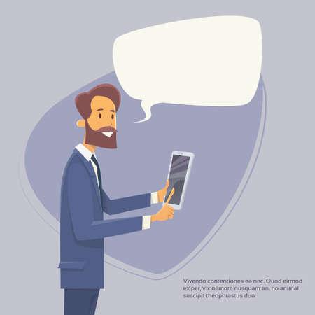using tablet: Businessman Using Tablet Computer Send Message Internet Texting Chat Communication Flat Vector Illustration