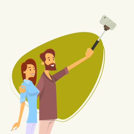 smart woman: Couple Man Woman Taking Selfie Photo On Smart Phone With Stick Vector Illustration