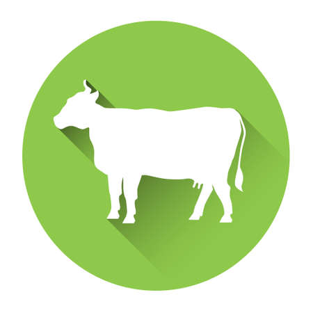 moo: Cow Farm Animal Silhouette Icon Flat Vector Illustration