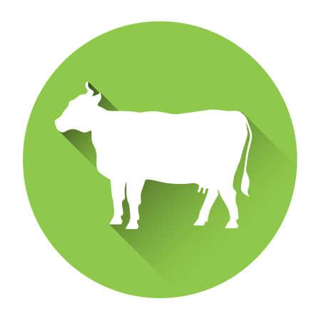 Cow Farm Animal Silhouette Icon Flat Vector Illustration