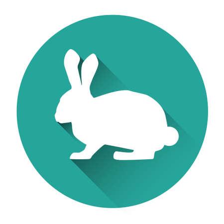 Rabbit Farm Animal Silhouette Icon Flat Vector Illustration