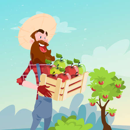Farmer Hold Box With Apple Garden Fruit Harvest Flat Vector Illustration