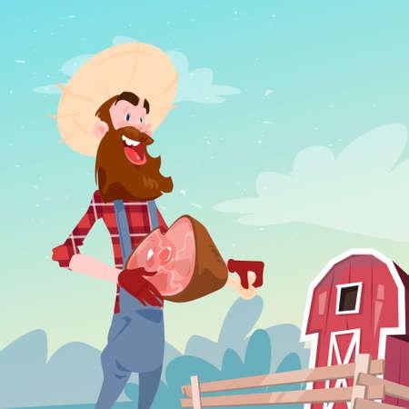 villager: Farmer Hold Pig Leg Pork Butcher Animal Farm Flat Vector Illustration