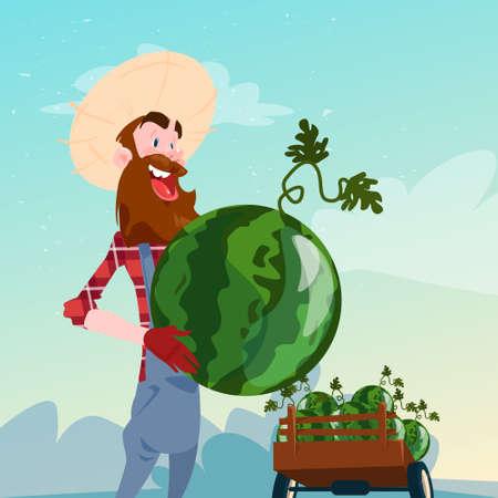 villager: Farmer Hold Watermelon Harvest Flat Vector Illustration