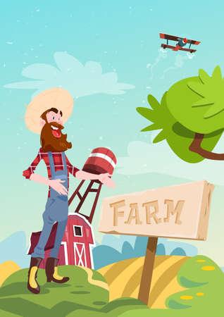 villager: Farmer Standing Show Farm, Farmland Countryside Landscape Flat Vector Illustration Illustration