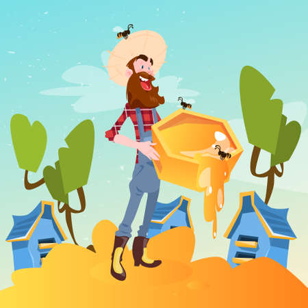 nectar: Farmer Gather Honey From Bee Hive Apiary Flat Vector Illustration