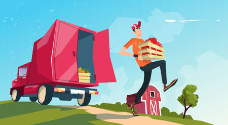 Farm Harvest Transportation Lorry Carrying Fruits Vegetables Flat Vector Illustration  イラスト・ベクター素材