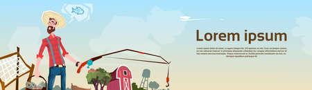 fishing village: Farmer Fishing Farmland Background Flat Vector Illustration