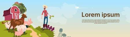 villager: Farmer Breeding Animals Farmland Background Flat Vector Illustration