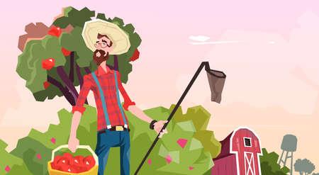 to gather: Farmer Gather Apples In Garden Fruit Harvest Flat Vector Illustration