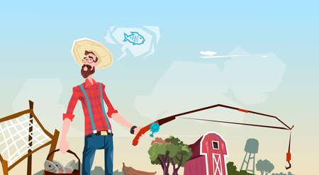 villager: Farmer Fishing Farmland Background Flat Vector Illustration