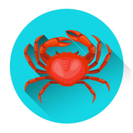 Red Crab Fresh Seafood Icon Flat Vector Illustration