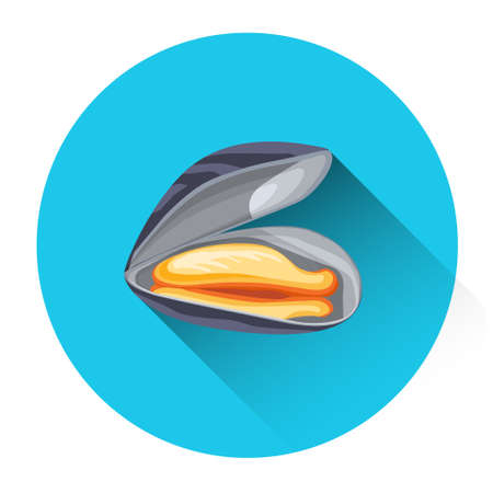 mussel: Mussel Fresh Seafood Icon Flat Vector Illustration