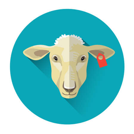 Sheep Farm Animal Icon Flat Vector Illustration