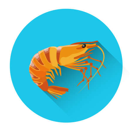 cooked: Cooked Shrimp Seafood Icon Flat Vector Illustration Illustration