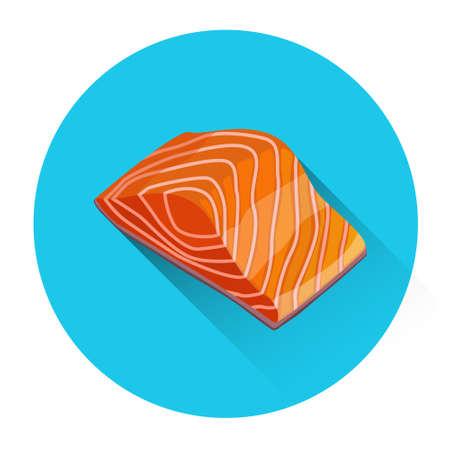 salmon fillet: Salmon Steak Seafood Fish Fresh Food Icon Flat Vector Illustration
