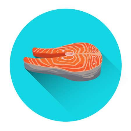 salmon steak: Salmon Steak Seafood Fish Fresh Food Icon Flat Vector Illustration